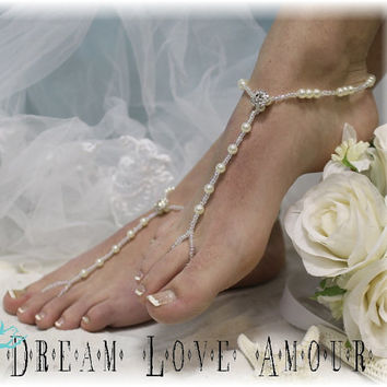 Barefoot sandals pearls rhinestone beautiful - beach wedding elegant -bridal foot jewelry-barefoot sandal-wedding shoes-footless sandles B24