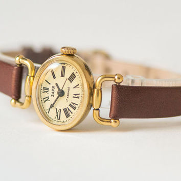 Oval women's watch Zaria\Dawn – gold plated lady's watch simple - classical woman's watch rare design – new premium leather strap