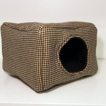 Hedgie Hidey, Guinea Pig Cube, Hedgehog Box, Rat House -Beige and Black Gingham