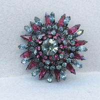 Sparkling Austria 1960's Vintage Blue & Purple Rhinestone Big Layered Japanned Pin