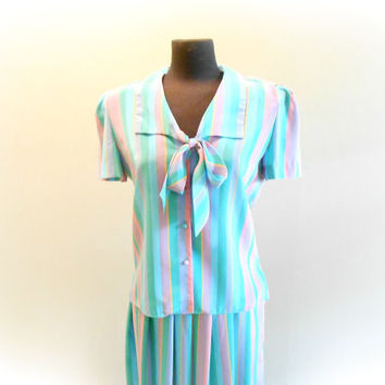 Pastel Striped Skirt & Blouse Set Pleated Skirt Matching Top Tie Neck Bow Blouse SIZE Large