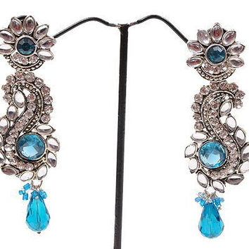 Blue Kundan Earrings
