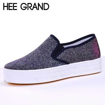 HEE GRAND Canvas Glitter Surface Thick Platform Slip-on Flats Womens Shoes XWC667