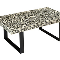 Leaf and Vine Black/White Cocktail Table