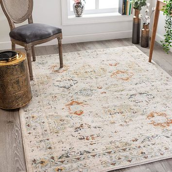 2801 Ivory Vintage Design Distressed Area Rugs