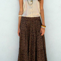 Maxi Skirt Vintage Floral Print Brown 70's Hippie Long Pleated Skirt