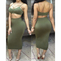 FASHION BACKLESS TWO-PIECE DRESS