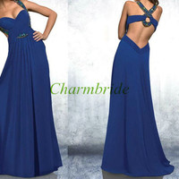 2014 long chiffon prom dresses with Rhinestone,sexy v-neck gowns for holiday party,unique elegant evening dress hot,cheap homecoming dress.