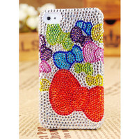Apple iPhone 4S 4G 3GS iPod Touch Colorful Crystals Bow Back Case Cover - GULLEITRUSTMART.COM