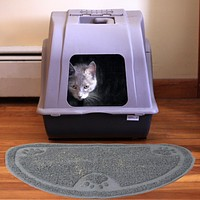 Evelots Cat Litter Trapper NonSkid Pet Rug, Kitty Litter Catcher and Feeding Mat