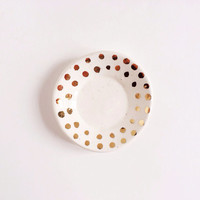 Ring Holder with Gold - Jewelry Dish - Ring Bowl - Bridesmaid Gifts - White and Gold Housewares