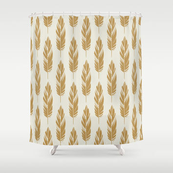 Feathers-Cream & Mustard Shower Curtain by Bohemian Gypsy Jane