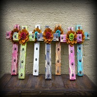 Rustic Wall Cross with Rusty Rose and Nail Heads