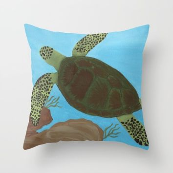 Sea Turtle Throw Pillow by livingworddesigns