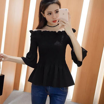 spring summer off shoulder sexy t shirt women tops flare sleeve ruched slim fit tee shirt femme chemiser chemise camicia donna