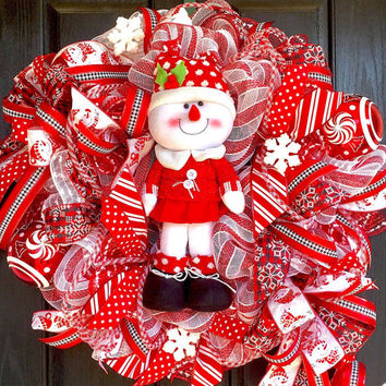 Snowman wreath, Snowman deco mesh wreath, Christmas mesh wreath, Christmas  wreath, Christmas deco mesh wreath, deco mesh wreath