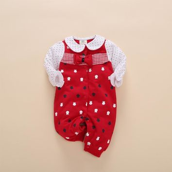 floral toddler baby girl romper red dot ruffles playsuit jumpsuit outfits newborn clothing patterns barboteuse neonato infantil