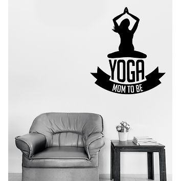 Vinyl Decal Wall Sticker Happy Mothers Day Pregnant Yoga Mom Unique Gift (n1153)