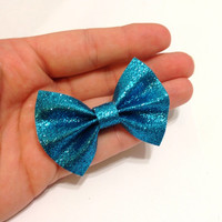 Mini Blue Glitter Canvas Hair Bow on Alligator Clip - 2.5 Inches Wide - AFFORDABOW Line - Affordable and High Quality Hair Bows