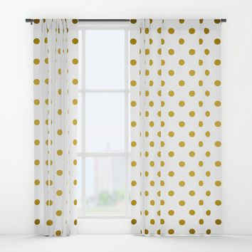 Gradient Gold Polka Dots Pattern On White Window Curtains By Std