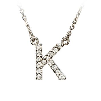 1/8 Cttw Diamond & 14k White Gold Block Initial Necklace, Letter K