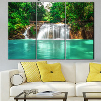 Waterfall, falls on canvas, turquoise water, canvas in office, printing on canvas, picture office, summer waterfall, forest green canvas