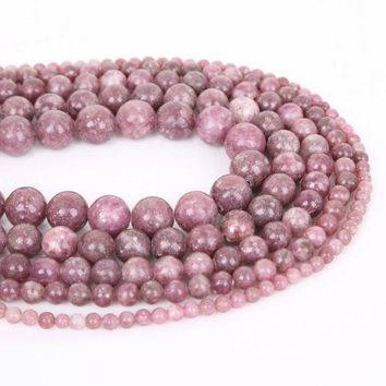 ac spbest Natural Round Shape Lepidolite Stone Beads For jewelry Making DIY Necklace Bracelet 4/6/8/10/12mm Hole Size 1mm 32-95pcs/bag