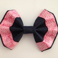 Girl's Blue Denim Fabric Hair Bow with Pink Ribbon with a White design