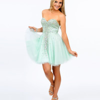 Mint Rhinestone Strapless Short Dress 2015 Homecoming Dresses