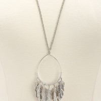 NEO-NATIVE BEADED FEATHER PENDANT NECKLACE