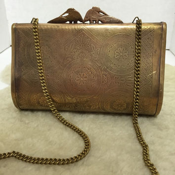 Brass Bird Bag - Art Deco bag - Egyptian revival purse - brass lotus bag - vintage minaudiére - thirties vintage - evening bag - cross body