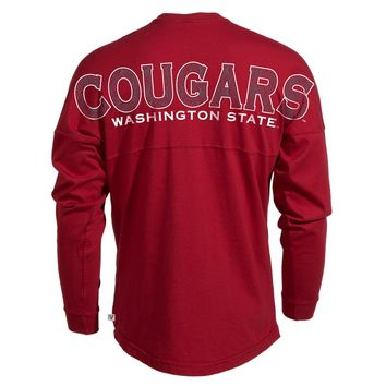 Official NCAA Washington State University Cougars WSU Tri Cities Long Sleeve Spirit Wear Jersey T-Shirt