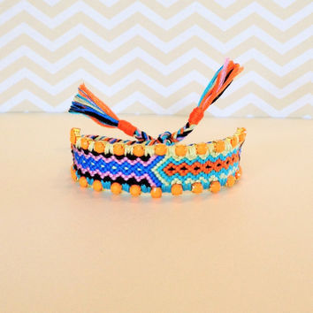 OOAK Mini Woven Friendship Bracelet with Neon Orange Rhinestones