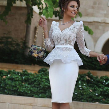 Long white lace Cocktail Dresses New Fashion White Knee length Dresses V Neck 3/4 Sleeves Appliques Sheath Party cocktail dress