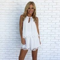 Frolic in the Fields Romper in White