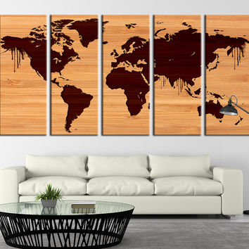 Wooden World Map Canvas Art Print, World Map on Wood Background Canvas Print No:024