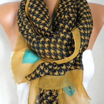 Spring Mustard Black Cotton Scarf Shawl Summer Cowl Oversize Wrap Gift Ideas For Her Women Fashion Accessories Mother Day Gift Women Scarves