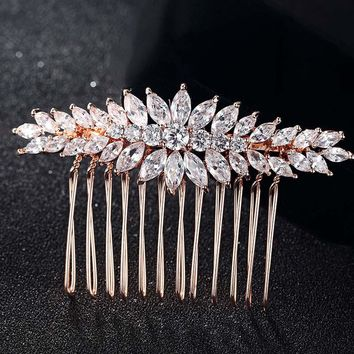 Brand Cubic Zircon Hair Combs Jewelry For Women Hairpins Tiara Rhinestone Head Jewelry for Gifts copper Woman Hair Combs Bijoux