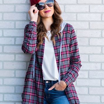 Camped Out Plaid Hoodie Shirt : Charcoal/Red