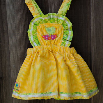Cute Yellow and Green Overall Dress and Panty Set - Toddler Dress- Summer Dress-Baby Girl-Baby Dress 12-24M