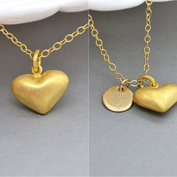 Gold Heart Necklace, Personalized Heart, Initial Disc, Rose Gold Filled or 14k Gold Filled Chain