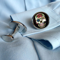 Silver Sugar Skull Cuff Links Steampunk Accessories for Men and Women Wedding Party Gift