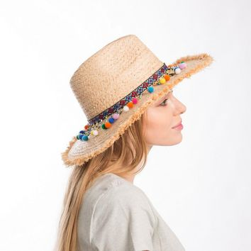Muchique Summer Hats for Women Raffia Sun Hat with Sequins Trim Straw Panama Fedora with Fray Edge Boho Style Safari Hat