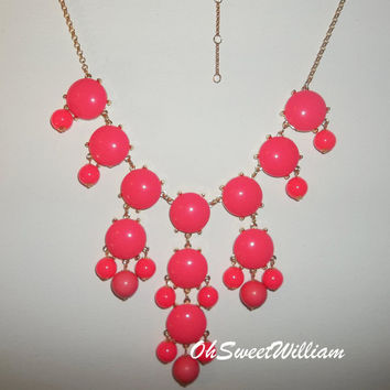 Bubble Necklace J Crew Inspired  Bubble Gum Pink by OhSweetWilliam