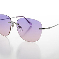 Rimless Ocean Colored Lens Women's Sunglass - Fancy