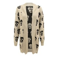 Envy Boutique Women's Skull Print Cardigan Waterfall Open Cardigan Jumper Plus Sizes