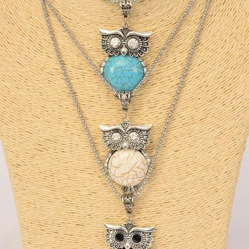 Antiqued Silver Owl Necklace