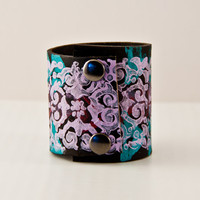 SALE Colorful Leather Jewelry Purple Cuff - Lavandar - Turquoise - Wide Bracelet - Holiday Gift Christmas
