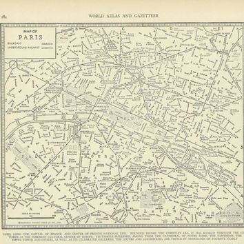 Vintage Street Map Paris France from 1937 by ManyPlacesMaps