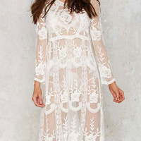 Summer Bikini Cover-up Milky Lace Crochet Hollow Midi Beach Smock Dress with Long Sleeve